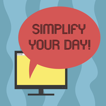 Conceptual hand writing showing Simplify Your Day. Business photo showcasing make simple or reduce things to basic essentials Mounted Computer Blank Screen with Oval Color Speech Bubble Foto de archivo