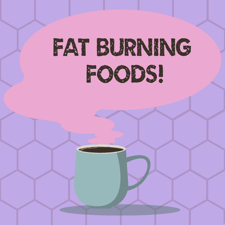 Conceptual hand writing showing Fat Burning Foods. Business photo text Certain types of food burn calories as you chew them Mug of Hot Coffee with Blank Color Speech Bubble Steam icon
