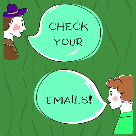 Writing note showing Check Your Emails. Business photo showcasing have look at your inbox to see new mails and read Hand Wo analysis Talking photo with Blank Color Speech Bubble