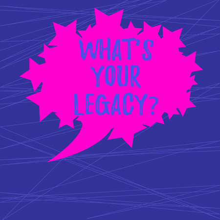 Text sign showing What S Your Legacy. Conceptual photo gift that handed or conveyed from one demonstrating to another Blank Oval Color Speech Bubble with Stars as Outline photo Text Space Banco de Imagens