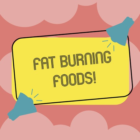 Writing note showing Fat Burning Foods. Business photo showcasing Certain types of food burn calories as you chew them Two Megaphone with Sound icon on Color Outlined Rectangular Shape