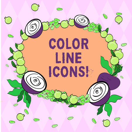 Writing note showing Color Line Icons. Business photo showcasing colored figures help us to go faster in way or open app Floral Wreath made of Tiny Seeds Small Glossy Pomegranate and Cut Beet