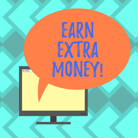 Text sign showing Earn Extra Money. Conceptual photo improve your skills work extra hours or second job Mounted Computer Monitor Blank Screen with Oval Color Speech Bubble Foto de archivo