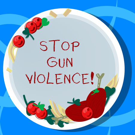 Conceptual hand writing showing Stop Gun Violence. Business photo showcasing danger made committed with use of gun firearm or small arm Hand Drawn Lamb Chops Herb Spice Cherry Tomatoes on Plate