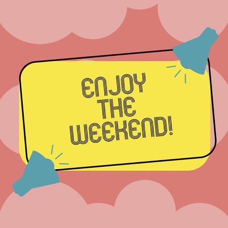 Writing note showing Enjoy The Weekend. Business photo showcasing day especially regarded as time for leisure and fun Two Megaphone with Sound icon on Color Outlined Rectangular Shape