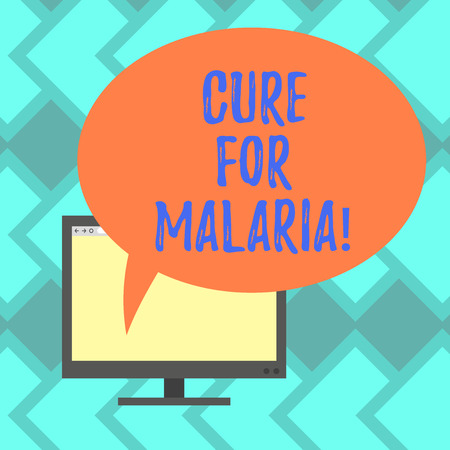 Text sign showing Cure For Malaria. Conceptual photo like Primaquine drug used against malaria for prevention Mounted Computer Monitor Blank Screen with Oval Color Speech Bubble Imagens