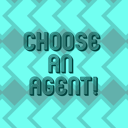 Writing note showing Choose An Agent. Business photo showcasing Choose someone who chooses decisions on behalf of you Geometrical Blank Color Squares Overlapping in Seamless Repeat Pattern 版權商用圖片