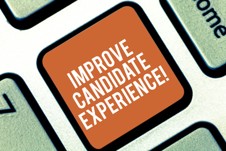 Conceptual hand writing showing Improve Candidate Experience. Business photo text Develop jobseekers feeling during recruitment Keyboard key Intention to create computer message idea