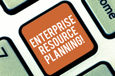 Conceptual hand writing showing Enterprise Resource Planning. Business photo text analysisage and integrate core business processes Keyboard key Intention to create computer message idea