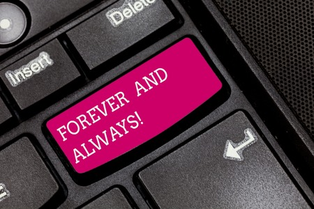 Writing note showing Forever And Always. Business photo showcasing means continuously at all relevant times and still Keyboard key Intention to create computer message pressing keypad idea
