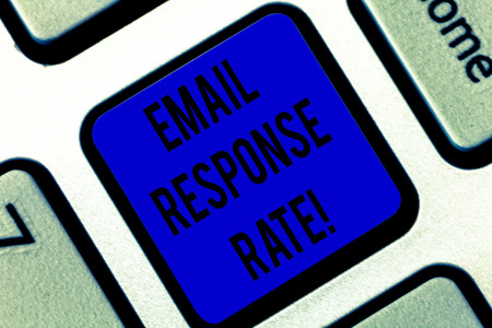 Writing note showing Email Response Rate. Business photo showcasing percentage showing saw something then completed action Keyboard key Intention to create computer message pressing keypad idea