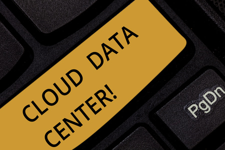Word writing text Cloud Data Center. Business concept for off premise form computing that stores data on Internet Keyboard key Intention to create computer message pressing keypad idea Фото со стока