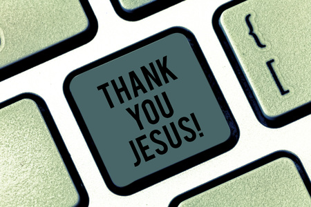 Writing note showing Thank You Jesus. Business photo showcasing Being grateful for what the Lord has given you Religious Keyboard key Intention to create computer message pressing keypad idea 스톡 콘텐츠