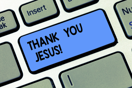 Conceptual hand writing showing Thank You Jesus. Business photo text Being grateful for what the Lord has given you Religious Keyboard key Intention to create computer message idea 스톡 콘텐츠