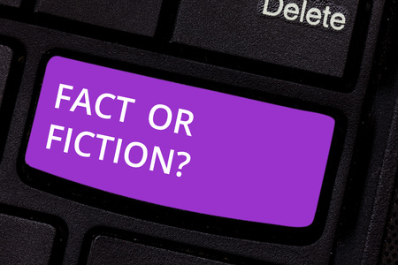 Text sign showing Fact Or Fiction. Conceptual photo Is it true or is false doubt if something is real authentic Keyboard key Intention to create computer message pressing keypad idea
