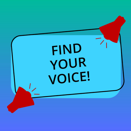 Handwriting text writing Find Your Voice. Concept meaning Being able to express oneself as a writer to speak Two Megaphone with Sound icon on Blank Color Outlined Rectangular Shape Фото со стока