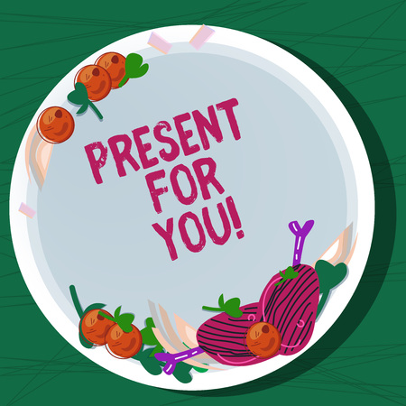 Writing note showing Present For You. Business photo showcasing To receive a gift surprise special occasion appreciation Hand Drawn Lamb Chops Herb Spice Cherry Tomatoes on Blank Color Plate Stock Photo