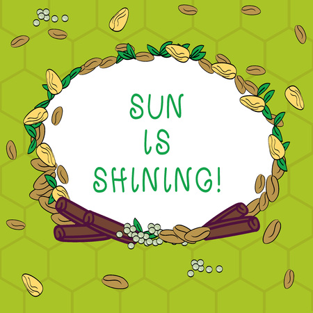 Handwriting text Sun Is Shining. Concept meaning Beautiful sunshine Enjoying hot summer days Natural landscape Wreath Made of Different Color Seeds Leaves and Rolled Cinnamon photo 版權商用圖片