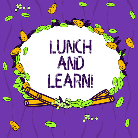 Conceptual hand writing showing Lunch And Learn. Business photo showcasing Have meal and study motivation for education learning eating Wreath Made of Different Color Seeds Leaves and Cinnamon