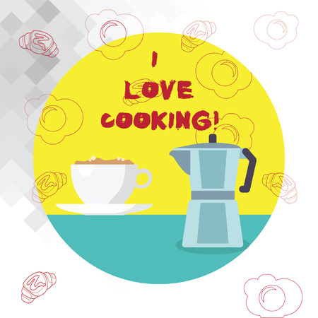 Conceptual hand writing showing I Love Cooking. Business photo text Having affection for culinary arts prepare foods and desserts Banco de Imagens