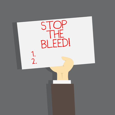 Conceptual hand writing showing Stop The Bleed. Business photo text Medical treatment for stopping the blood running from injury Stock Photo - 117045084