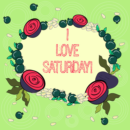 Text sign showing I Love Saturday. Conceptual photo To have affection for the weekend happy excited relax Floral Wreath made of Tiny Seeds Small Glossy Pomegranate and Cut Beet Imagens - 117045163