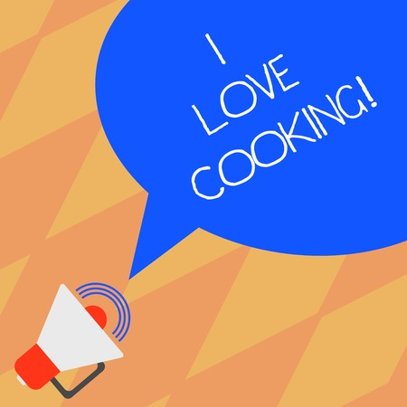 Text sign showing I Love Cooking. Conceptual photo Having affection for culinary arts prepare foods and desserts Megaphone with Sound Volume Icon and Blank Color Speech Bubble photo Banco de Imagens
