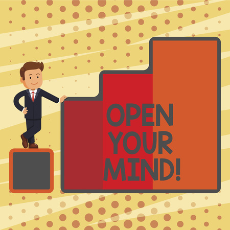 Conceptual hand writing showing Open Your Mind. Business photo text Be openminded Accept new different things ideas situations Archivio Fotografico