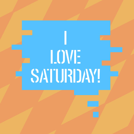 Text sign showing I Love Saturday. Conceptual photo To have affection for the weekend happy excited relax Blank Color Speech Bubble in Puzzle Piece Shape photo for Presentation Ads