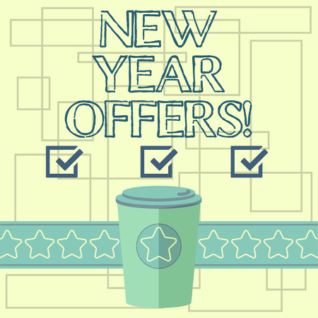 Text sign showing New Year Offers. Conceptual photo Final holiday season discounts price reductions sales 3D Coffee To Go Cup with Lid Cover and Stars on Strip Blank Text Space Imagens