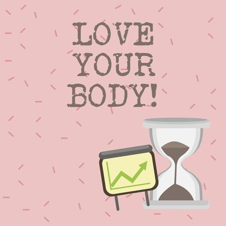 Text sign showing Love Your Body. Conceptual photo Selfacceptance take care of yourself have a healthy diet Stock fotó