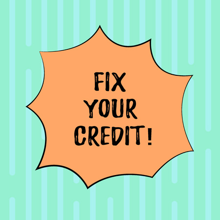Word writing text Fix Your Credit. Business concept for Keep balances low on credit cards and other credit Blank Color Explosion Blast Scream Speech Bubble photo for Promotion Ads Banque d'images