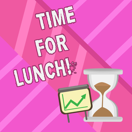Word writing text Time For Lunch. Business concept for Moment to have a meal Break from work Relax eat drink rest Archivio Fotografico