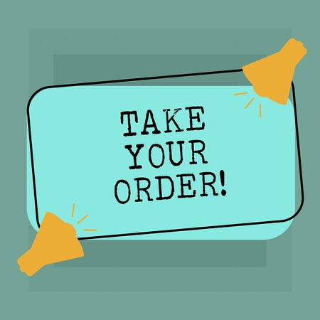 Conceptual hand writing showing Take Your Order. Business photo text Service in a restaurant caf or any other food place Two Megaphone with Sound icon on Color Outlined Rectangular Shape Stockfoto