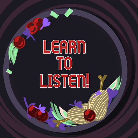 Conceptual hand writing showing Learn To Listen. Business photo text Able to understand what showing tells you be respectful Hand Drawn Lamb Chops Herb Spice Cherry Tomatoes on Plate