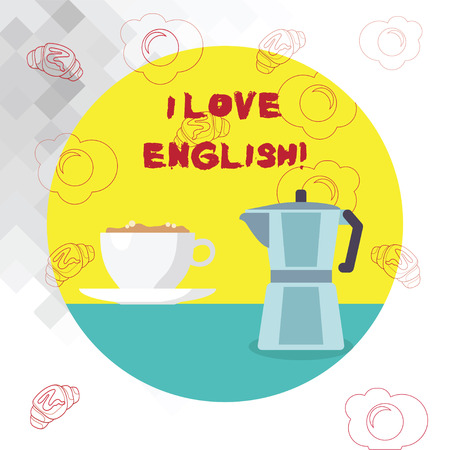 Conceptual hand writing showing I Love English. Business photo text To have affection for international language Grammar