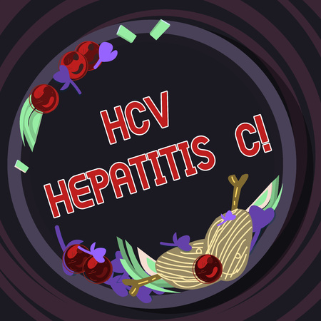 Conceptual hand writing showing Hcv Hepatitis C. Business photo text Liver disease caused by a virus severe chronic illness Hand Drawn Lamb Chops Herb Spice Cherry Tomatoes on Plate 免版税图像