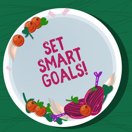 Writing note showing Set Smart Goals. Business photo showcasing Establish achievable objectives Make good business plans Hand Drawn Lamb Chops Herb Spice Cherry Tomatoes on Blank Color Plate