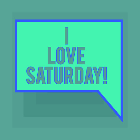 Conceptual hand writing showing I Love Saturday. Business photo text To have affection for the weekend happy excited relax Blank Deformed Color Round Shape with Small Circles Imagens