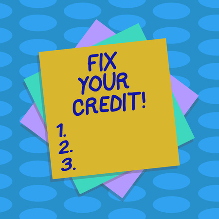 Word writing text Fix Your Credit. Business concept for Keep balances low on credit cards and other credit Multiple Layer of Blank Sheets Color Paper Cardboard photo with Shadow Stockfoto
