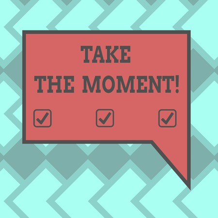 Text sign showing Take The Moment. Conceptual photo Seize the day and opportunity be happy optimistic positive Blank Rectangular Color Speech Bubble with Border photo Right Hand Stock Photo