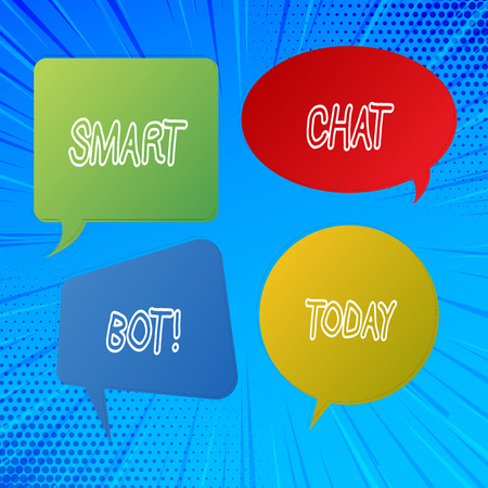 Writing note showing Smart Chat Bot. Business photo showcasing Artificial intelligence chatting with machines robots