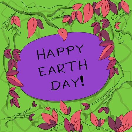 Text sign showing Happy Earth Day. Conceptual photo Worldwide celebration of ecology environment preservation Tree Branches Scattered with Leaves Surrounding Blank Color Text Space 스톡 콘텐츠