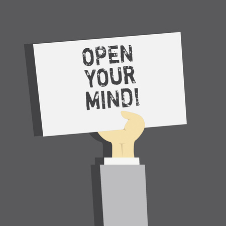 Handwriting text Open Your Mind. Concept meaning Be openminded Accept new different things ideas situations Imagens