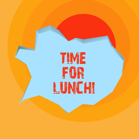 Conceptual hand writing showing Time For Lunch. Business photo showcasing Moment to have a meal Break from work Relax eat drink rest Stock Photo