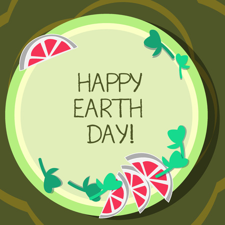 Conceptual hand writing showing Happy Earth Day. Business photo showcasing Worldwide celebration of ecology environment preservation Cutouts of Sliced Lime Wedge and Herb Leaves on Color Plate Banco de Imagens