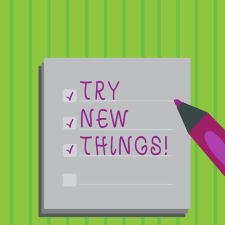 Conceptual hand writing showing Try New Things. Business photo text Do different activities get to know other ways of doing Stock fotó