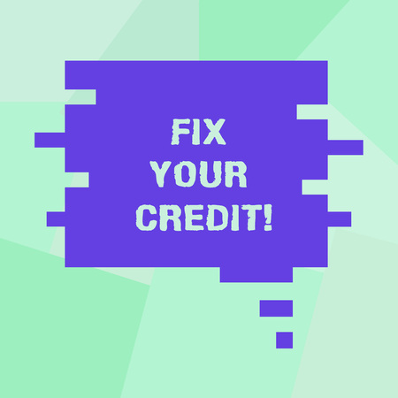 Conceptual hand writing showing Fix Your Credit. Business photo showcasing Keep balances low on credit cards and other credit Speech Bubble in Puzzle Piece Shape for Presentation Ads