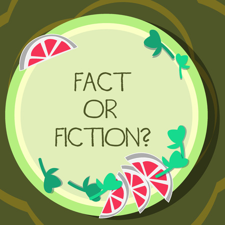 Conceptual hand writing showing Fact Or Fiction. Business photo showcasing Is it true or is false doubt if something is real authentic Cutouts of Sliced Lime Wedge and Herb Leaves on Color Plate Stock Photo