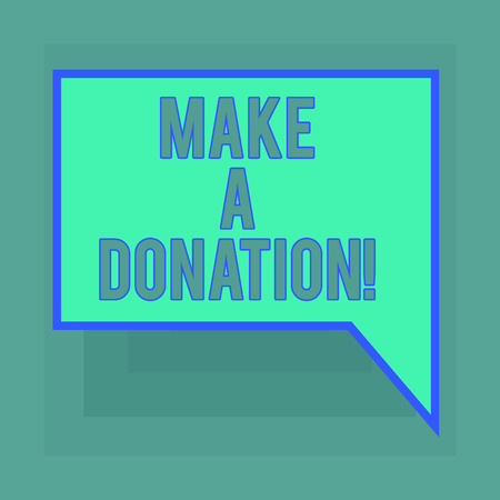 Conceptual hand writing showing Make A Donation. Business photo text Donate giving things not used any more to needed showing Blank Deformed Color Round Shape with Small Circles